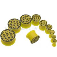 Cheap Yellow Multi Stars Silicon 6mm, 8mm Cool Piercing Double Flare Ear Expander Plugs, Tapers for sale