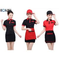 Red and black color restaurant shirts uniforms for for Restaurant uniform shirts wholesale