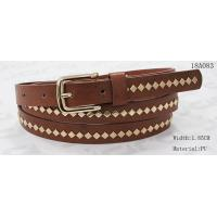 Quality Polished Patterns Womens Fashion Belts With Gold Buckle And Square Metal Studs 1.85cm Width wholesale