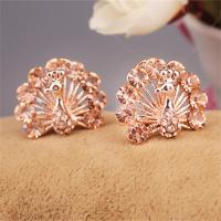 Cheap Fashion Earrings Lady Beauty Cute Peacock Animal Style Costume Earrings Rose Gold Plated  Imitation Diamond Earrings for sale