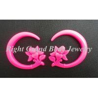 Quality Solid Pink Resin Flower Ear Hanger Spiral Taper For Party / Anniversary wholesale