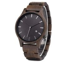 Cheap Wooden Luxury Men 'S Quartz Date Watch Big Dial 12 Months Warranty for sale
