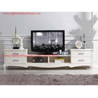 Cheap Ivory Classic TV stand wood furniture Audiovisual cabinet in White matt PU painting for sale