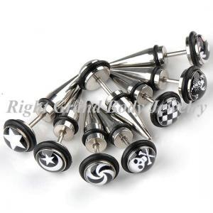Cheap Girls / Guys Fake Plug Earrings , Custom Ear Piercing Jewelry for sale