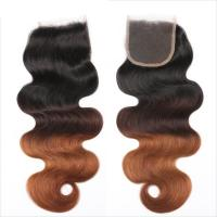 Cheap Three Tone Virgin 4x4 Hair Closure , Hand Tied 4x4 Free Part Closure for sale