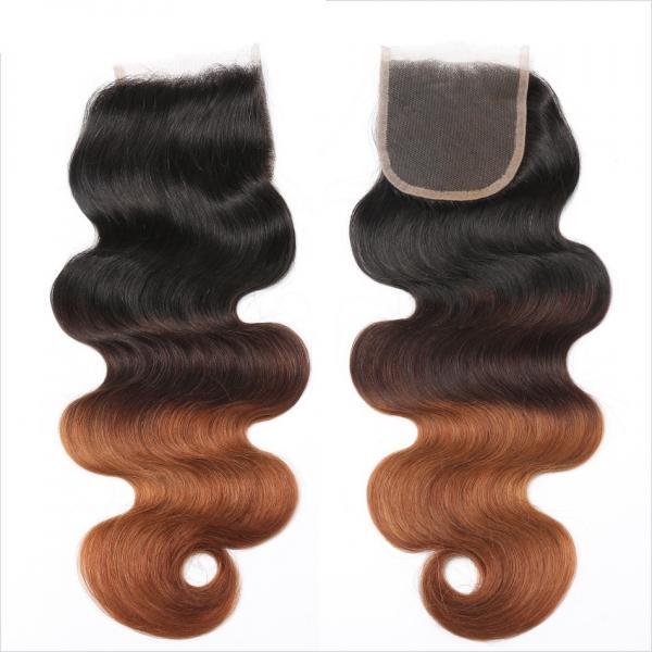 Quality Three Tone Virgin 4x4 Hair Closure , Hand Tied 4x4 Free Part Closure wholesale