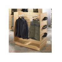 Four Sides Wooden Gondola Display Stands Aluminum Slot Hanging For Hanging Clothes
