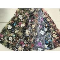 Cheap Multi Color Embroidered 3D Flower Lace Fabric / Fabric , Bead Lace Tulle For Dress for sale