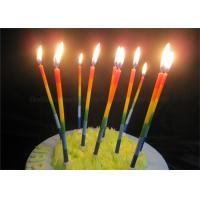 Color Gradient Long Thin Birthday Cake Candle Blue Green Yellow Red Orange Paraffin Manufactures