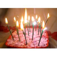 Dark Green Sparkling Birthday Cake Candles With Shimmer Sizzle , Slim 24pcs Candles Manufactures