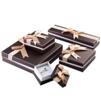 Stylish Design Cardboard Jewelry Gift Boxes With Bow Velvet Foam Insert