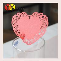 China Laser cut red heart wine glass place cards free customed design on sale