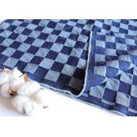 Buy cheap 10oz Deep Blue Jacquard Checkerboard Fabric Washed Denim Blue Jean Material W068 from wholesalers