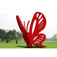 Cheap Contemporary Art Stainless Steel Garden Sculptures Large Red Butterfly for sale