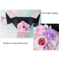 Cheap Colorful Perfect Valentines Day Gifts Preserved Everlasting Real Rose Flower Preserved Roses in Gift Box with Drawer for sale