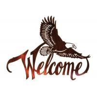 Cheap American Bald Eagle Welcome Large Metal Wall Sculptures For Home Decorations for sale