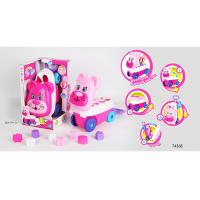 Cheap Pink Building Blocks Educational Toys For Kids Age 3 Years / Animal Trolley Cart for sale