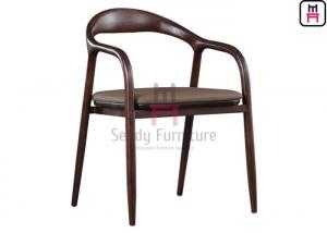 Cheap No Foldable PU Leather Ash Wood Dining Chair With Armrests for sale