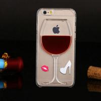 Quality 3D Liquid Flow Red Wine Glass Cocktail Bottle Case Cover For iPhone 5s 6 6 plus wholesale