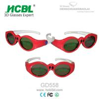 Cheap Lovely Red Round Frame USB Recharable Active Shutter 3D Glasses For Children for sale