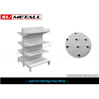 Two Sided Shop Display Racks For Supermarket , Metal Display Stands With Dimpled Peg Panel
