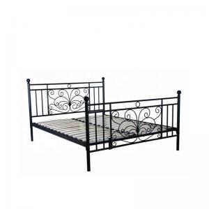 Cheap Bedroom Black Queen Wooden Slat Bed Frame Electrostatic Powder Coating for sale