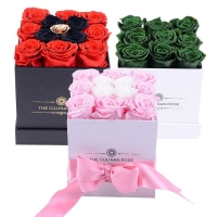 Cheap Wholesale Business Preserved eternal roses Square Boxes 9pcs Roses Inside Black Boxes Flower for sale