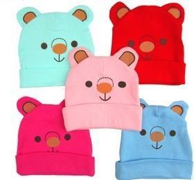 Cute colorful bear pattern cap snow cap sloppy beanie winter warm best gift for kids