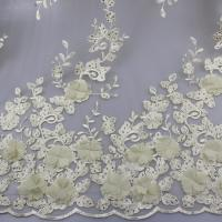Cheap 3D Floral Lace Fabric With Beaded Embroidered Polyester Fiber For Party Gowns for sale