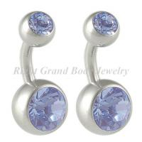 Cheap Anniversary Belly Button Navel Rings Body Jewelry 14G Double Crystal for sale
