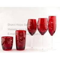 China Sprayed red color wine glasses with decals, more colors are available on sale
