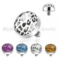 Cheap Customized Leopard Inlayed Dermal Anchor Threaded Jewelry For Girl for sale