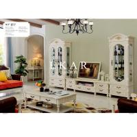 Cheap dining room classic wooden white showcase glass cabinet furniture for sale