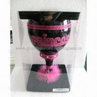 Cheap Black Glass Goblet with Beautiful Handpainting, Used for Giftwares and Novelties for sale