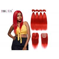 Buy cheap Red Brazilian Straight Hair Bundles With Closure Colored 99J Burgundy Bundles from wholesalers
