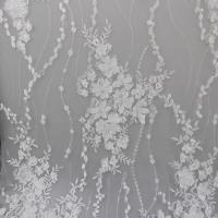 Cheap Delicate Embroidery Polyester On Nylon Mesh Lace Fabric With 3D Flower Design for sale