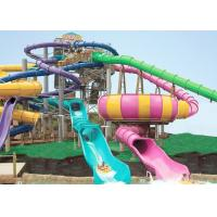 Giant Swimming Pool Water Slides FRP Outdoor Slide 146m Platform For Adults