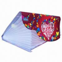 Cheap Printed PP Expanding File Folder with Frisbee Buckle and Dividers, Eco-friendly for sale
