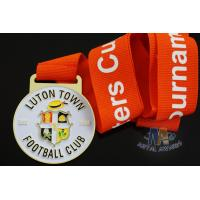 Cheap Custom Metal Zinc Alloy Football Medals Soft Enamel with Europe Printing Ribbon for sale