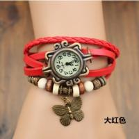 China Butterfly Style Ladies Leather Bracelet Watches With Red Strap , Women Quartz Watches on sale