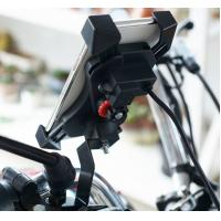 Cheap 360 Rotation One Key Draw Back Motorcycle Phone Holder With Switch and 5V/2.1A Motorcycle Usb Charger for sale
