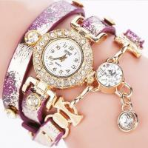 China Newest design Long Strap Diamond Chain Fashion Lady Leather Bracelet Watches on sale