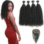 Cheap 4 Bundles Of Virgin Peruvian Hair Bundles With Closure Customized Length for sale