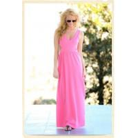 Pink deep v neck womens maxi dresses young ladies long casual dresses