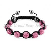Cheap Adjustable Size Disco Ball Macrame Crystal Shamballa Bracelets For Women for sale