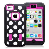 Cheap Hard Plastic & Silicon Case Dot Combo Case For Iphone 5c Hybride Case Cover for sale