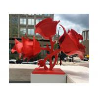Cheap Modern Red Stainless Steel Outdoor Sculpture Rose Flowers Corrosion Stability for sale