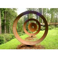 Cheap Laser Cut Rusty Outdoor Corten Steel Sculpture For Garden Decoration Circle Shape for sale