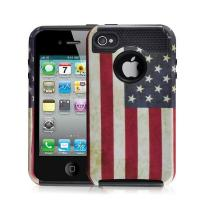 Cheap Hottest Sale Retro USA Flag Iphone 4S Rugged Case TPU+PC Combo Case for sale