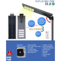 Buy cheap Waterproof IP65 Integrated 70W Solar LED Street Light  PIR and Remote Control for Sqaure Light from wholesalers
